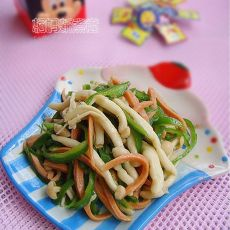 青椒蘑菇火腿丝