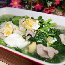 咸蛋肉片苋菜汤