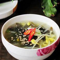 在家做韩式鲜汤----韩式裙带豆芽汤的做法