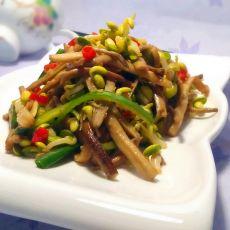 银芽头炝炒茶树菇的做法