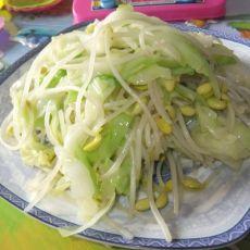 豆芽炒包菜的做法