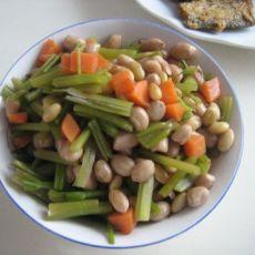 凉拌芹菜花生米咸菜的做法