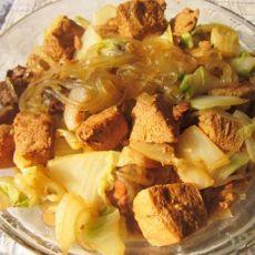 白菜豆腐炖肉的做法