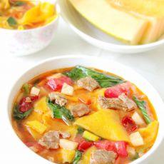 胡萝卜汁恰玛古楸片汤饭的做法