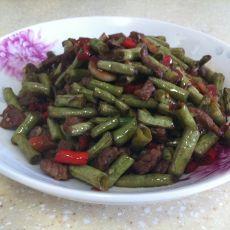 酸豆角炒牛肉粒的做法