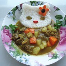 kitty猫牛肉咖喱饭的做法