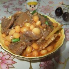 黄豆焖牛肉