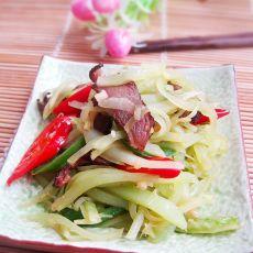 腊肉炒莴笋的做法