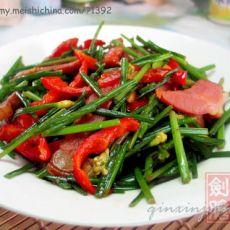 韭菜花炒腊肉的做法