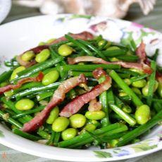 毛豆腊肉炒韭苔