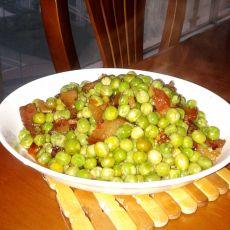 腊肉炒豌豆的做法