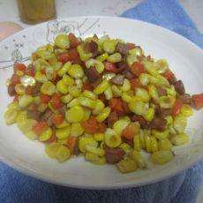 腊肉胡萝卜炒玉米