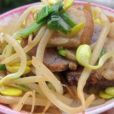 腊肉炒豆芽的做法