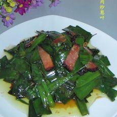 腊肉炒葱叶