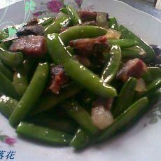 腊肉丁炒豌豆