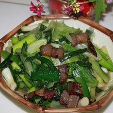 生菜大蒜炒腊肉的做法