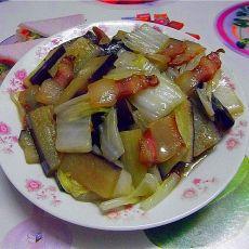 茄子炒白菜梗