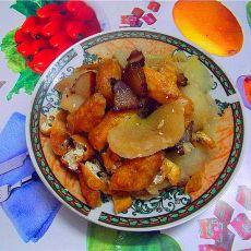 豆卜腊肉煮柚皮