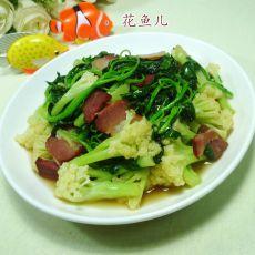 白米苋腊肉炒花菜