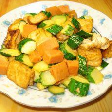 豆腐黄瓜炒火腿