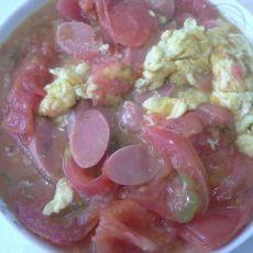 西红柿炒鸡蛋火腿的做法