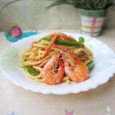 三丝鲜虾炒乌冬