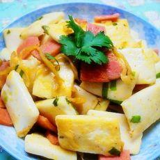 咸菜火腿炒年糕
