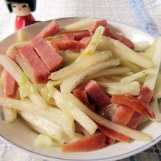 火腿炒白菜的做法