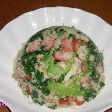 青菜火腿炒豆渣的做法