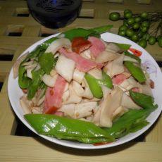 青椒火腿炒杏鲍菇