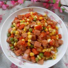 火腿炒玉米菜丁