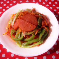 葱丝尖椒炒火腿的做法