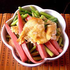 蒜苔鸡蛋炒火腿的做法