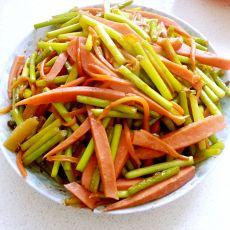 胡萝卜蒜苔炒火腿