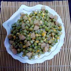 豌豆芽玉米炒火腿的做法