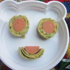 果仁蛋饼加香肠——宝贝的早餐的做法