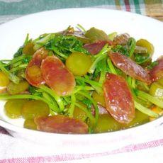 香菜腊肠炒莴苣