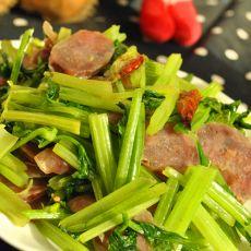 水芹菜炒香肠