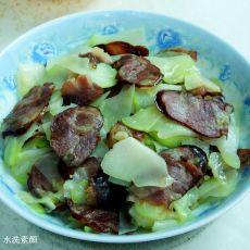 青菜头炒香肠的做法
