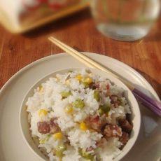 腊肠玉米青豆饭
