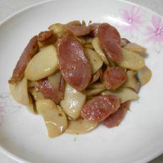 香肠炒杏鲍菇