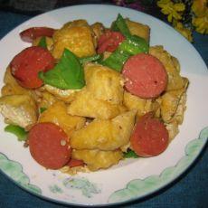 尖椒香肠炒油豆腐