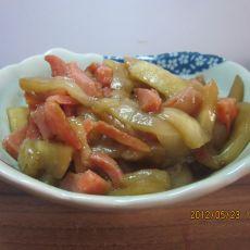 炸肠炒茄子的做法