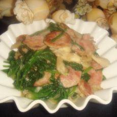 香肠炒菠菜