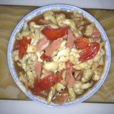 西红柿香肠炒菜花