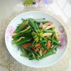 韭菜花炒双丝的做法