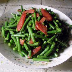 香肠炒豇豆的做法