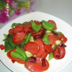 青椒煎香肠