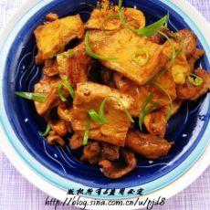 豆干炖鸡肉的做法