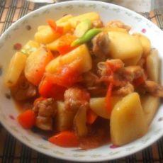 番茄土豆焖鸡肉